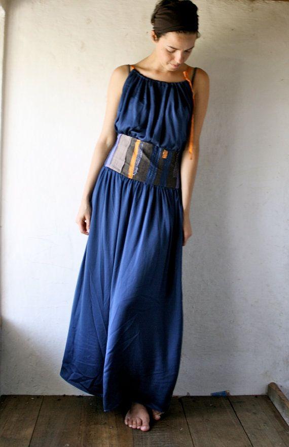Long Maxi Dress - Dark Blue Charmeuse  c414b917513