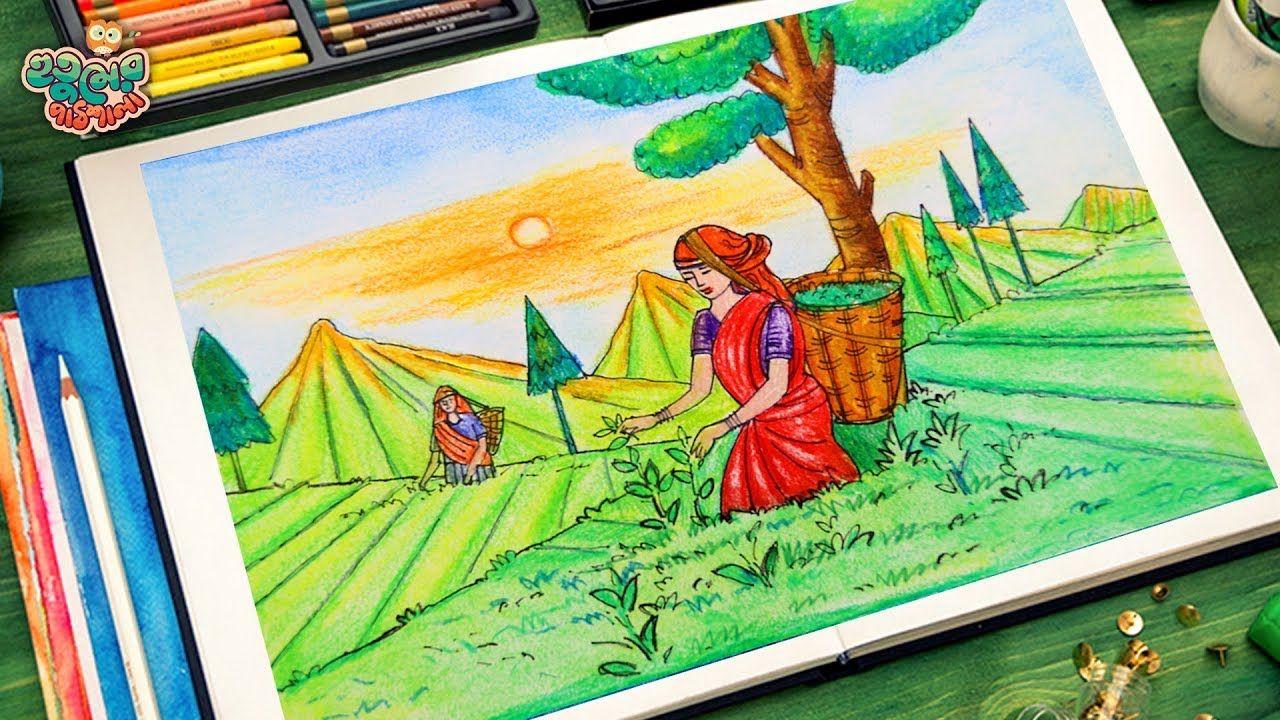 How To Draw Scenery Of Tea Garden Very Easy Garden Drawing Tea