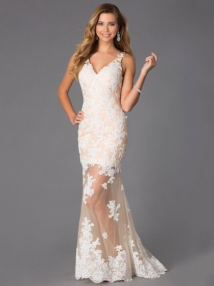 V-neck Champagne Tulle Appliques Lace Trumpet/Mermaid Coolest Prom ...