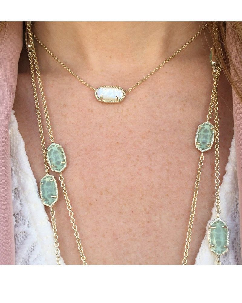 4bc2522e816b7 Kendra Scott Elisa Gold Pendant Necklace in Ivory Pearl 15 inch w/ 2 ...
