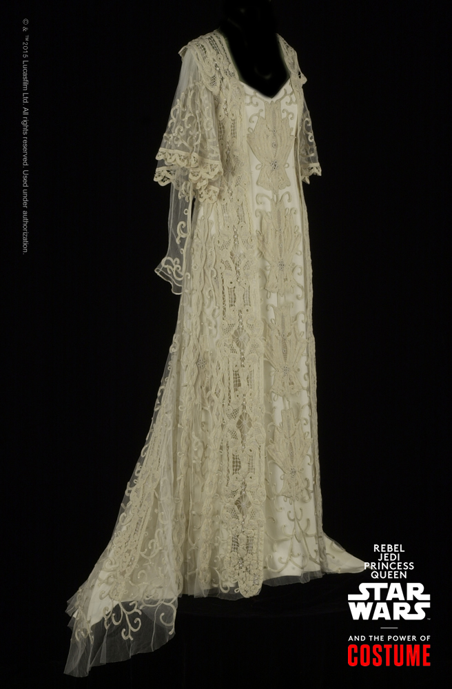 "The ""Attack of the Clones"" wedding gown, on view in the Smithsonian traveling exhibition ""Rebel, Jedi, Princess, Queen: Star Wars™ and the Power of Costume,"" is assembled from an antique lace bed spread. Master embroiders in Sydney Australia made over 300 yards of French-knit braid to blend the vintage elements together with the modern handiwork.   #StarWarsCostumes #CostumeDesign #StarWars #Costumes #VintageWeddingDresses #WeddingDresses #lace http://www.powerofcostume.si.edu"