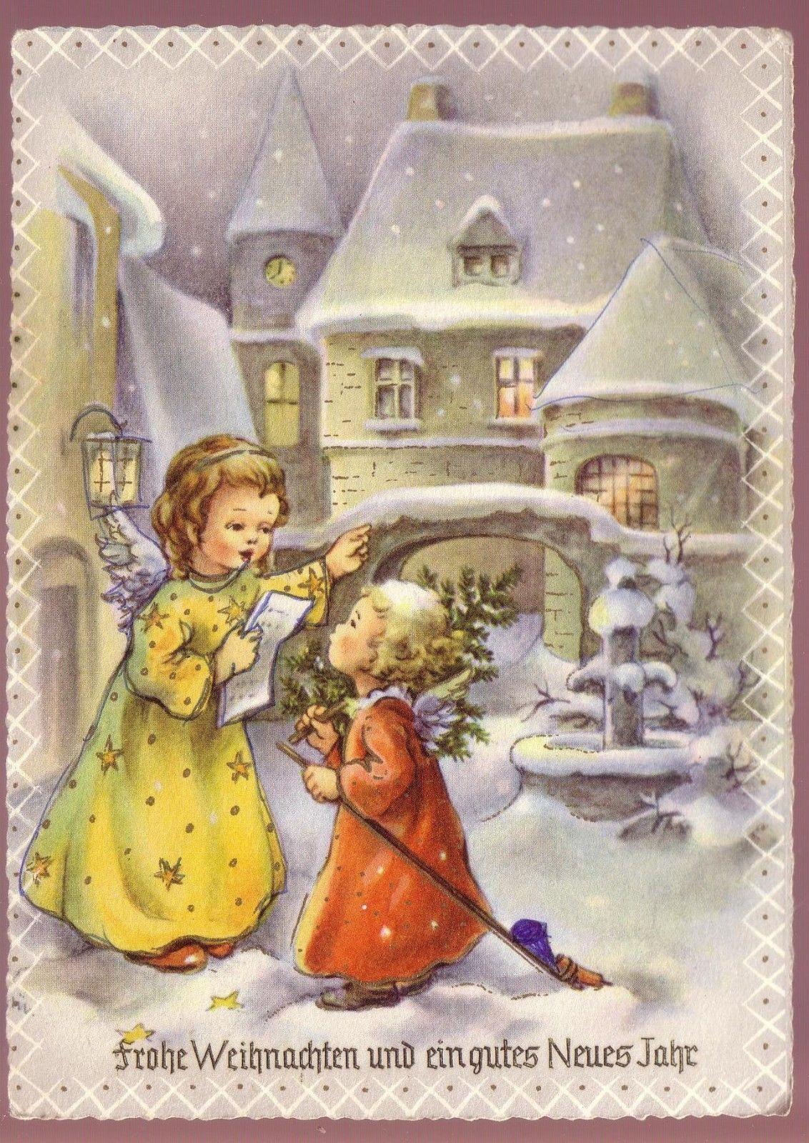 ak frohe weihnachten engel kind 1957 eur 1 00 picclick de cartoline vintage