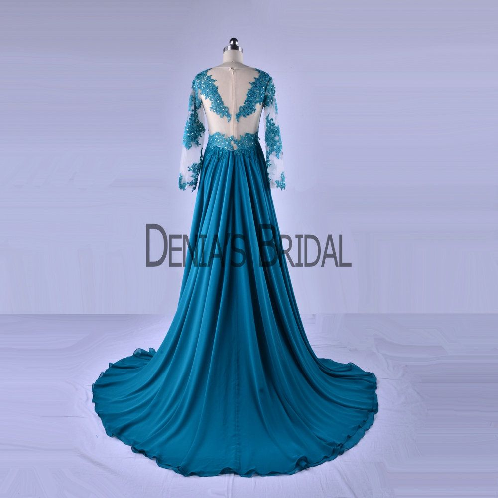 2017 Jeael Neckline A Line Prom Dresses Illusion Long Sleeves ...