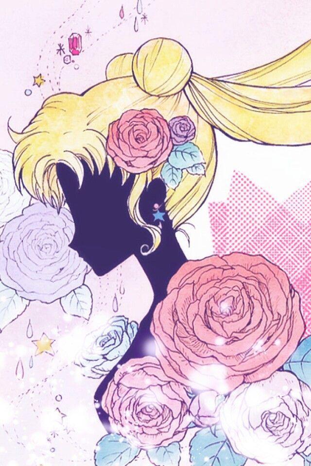 Sailor moon silhouette with roses. This would be a pretty cellphone background. Visual. Related. Internet.