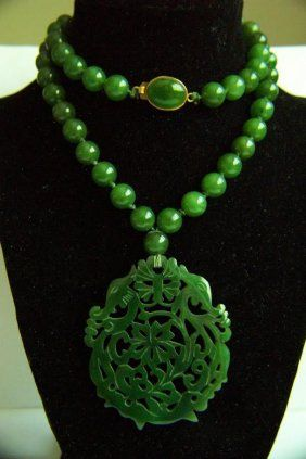 A magnificent natural nephrite jade necklace bling pinterest joya a magnificent natural nephrite jade necklace aloadofball Image collections
