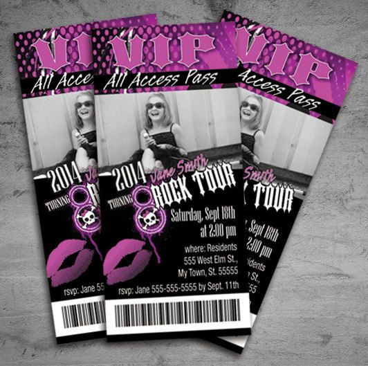 Girl Rock Star Birthday Party Concert Ticket Invitation on Etsy - concert ticket invitations