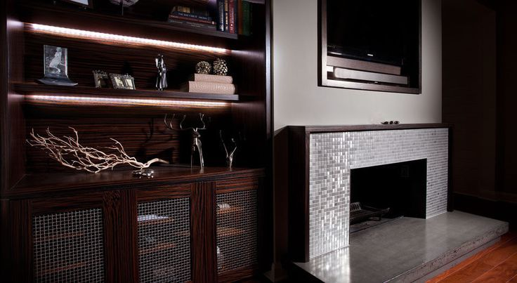 steel and tile fireplace surround idea