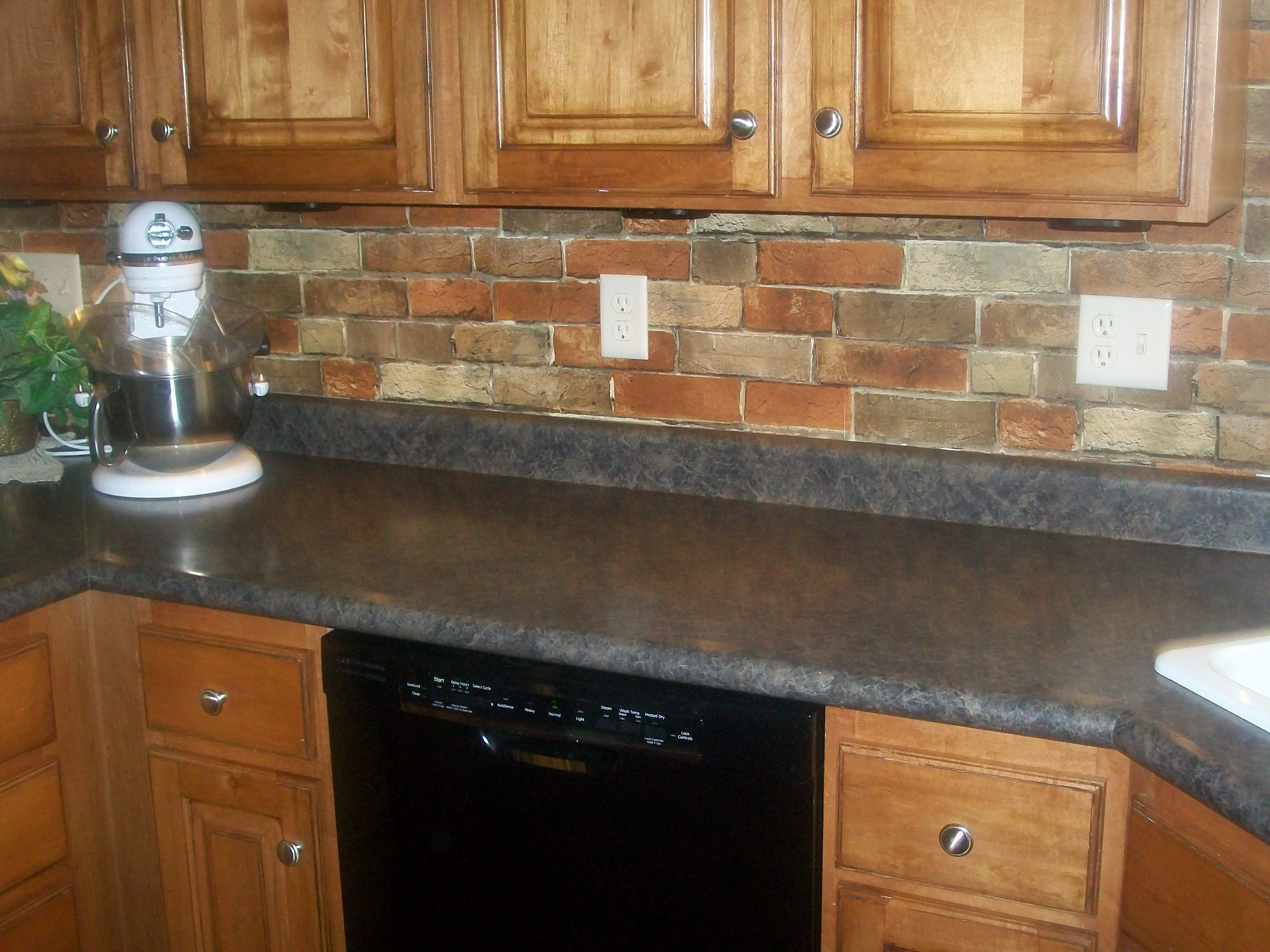 Kitchen, Red Brick Backsplash For Narrow Kitchen Design With Oak ...