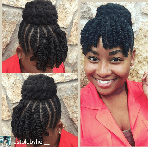 Twisted Top Bun Bangs Protective Styles For Natural Hair