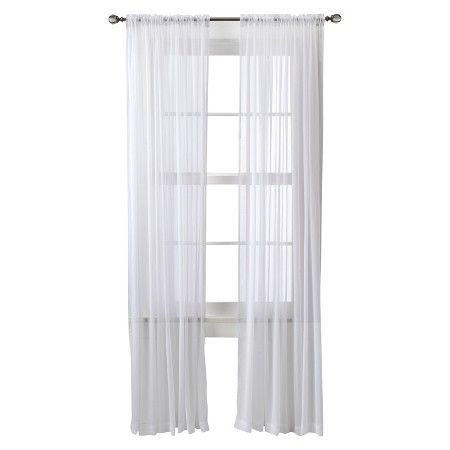 threshold chiffon sheer curtain panel target to make a canopy for cait - White Sheer Curtains