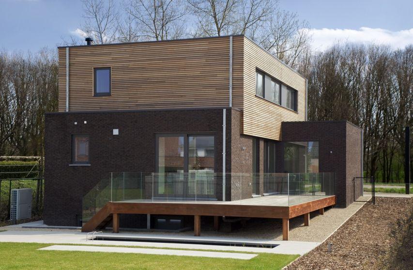 Mooie combo hout gevelsteen leuk verhoogd terras projekty