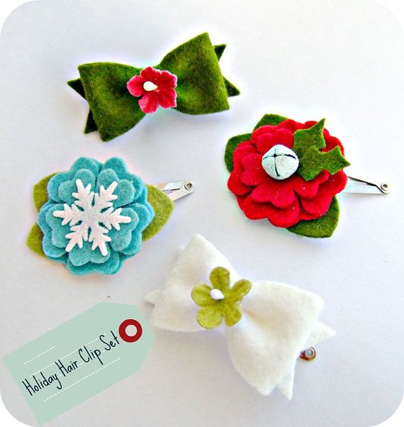 Christmas Hair Clips.Christmas Hair Clips Could Try Something Simpler Than This
