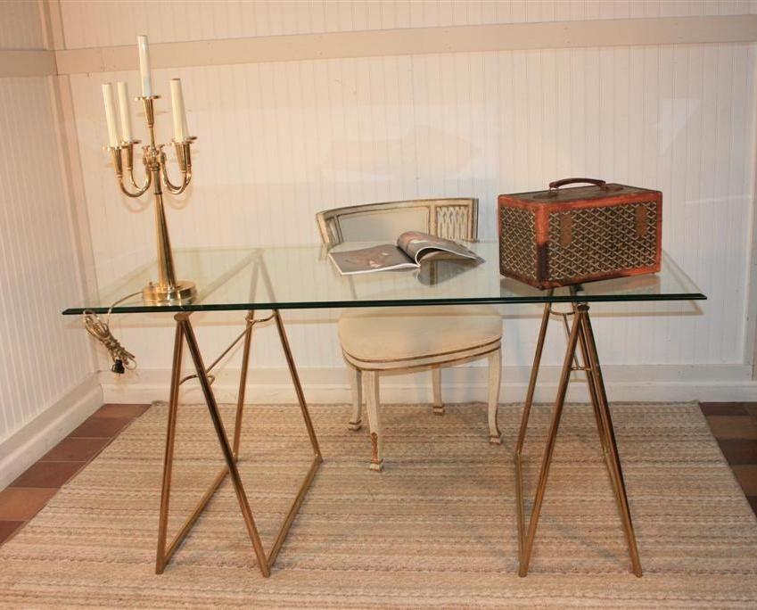 Brass Sawhorse Desk Table Desk Midcentury Modern Mid Century Modern Furniture
