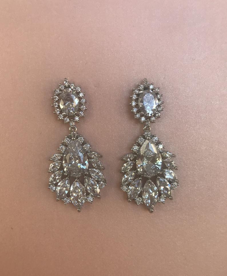 Silver Wedding Earrings Bridal Earrings Silver Zirconia Earrings