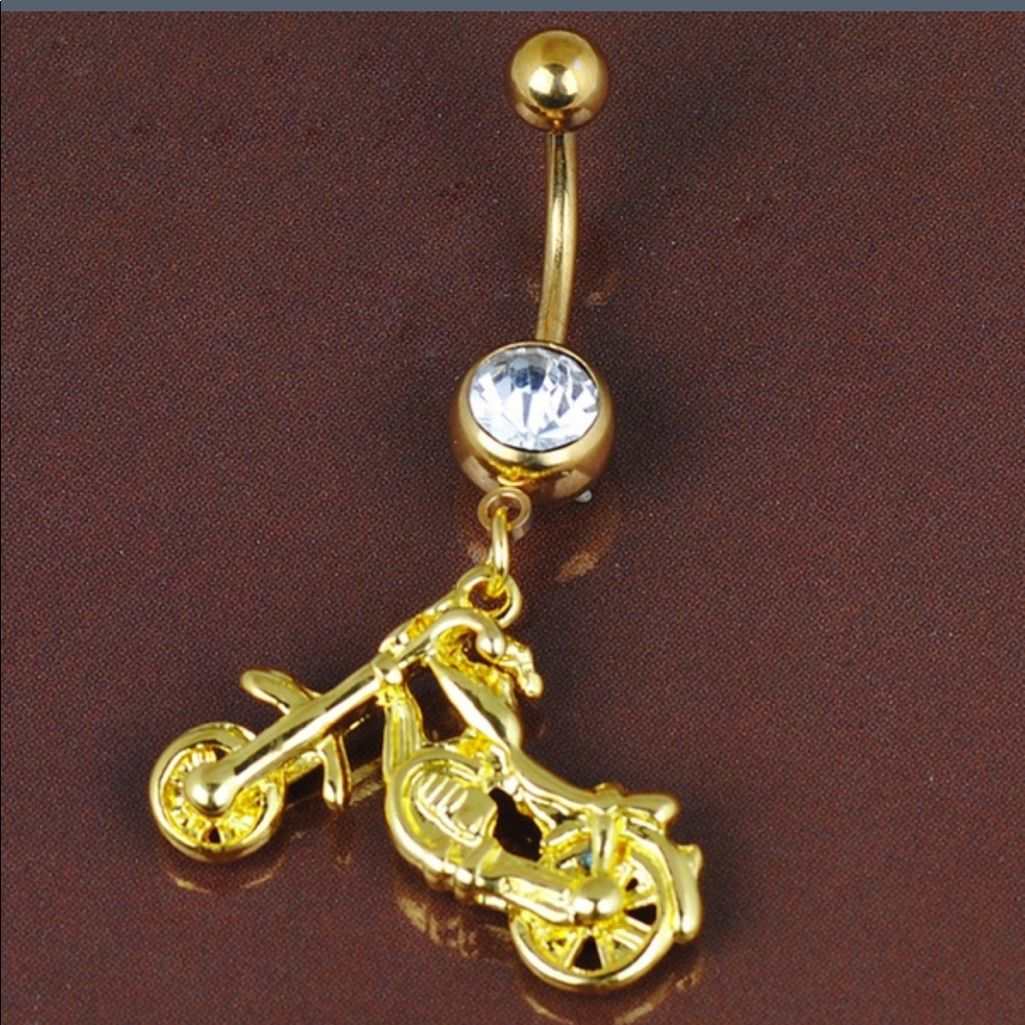 Belly button piercing scar  Motorcycle Gold Plated Belly Ring  Products