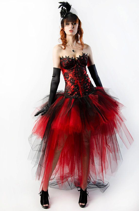 325fbf234c3 Custom Steampunk Dress Flame Crystal Corset Dress Red And Black Burlesque  Prom Wedding Costume on Etsy