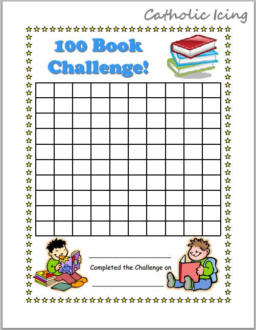 100 book challenge printable reading chart for kids reading workskop reading charts 40 book. Black Bedroom Furniture Sets. Home Design Ideas