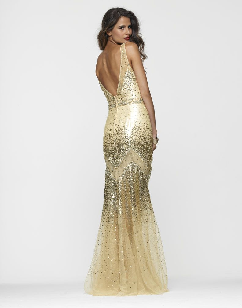 Clarisse Style 2116 Gold, Open Back Prom Dress | Silver + Gray + ...