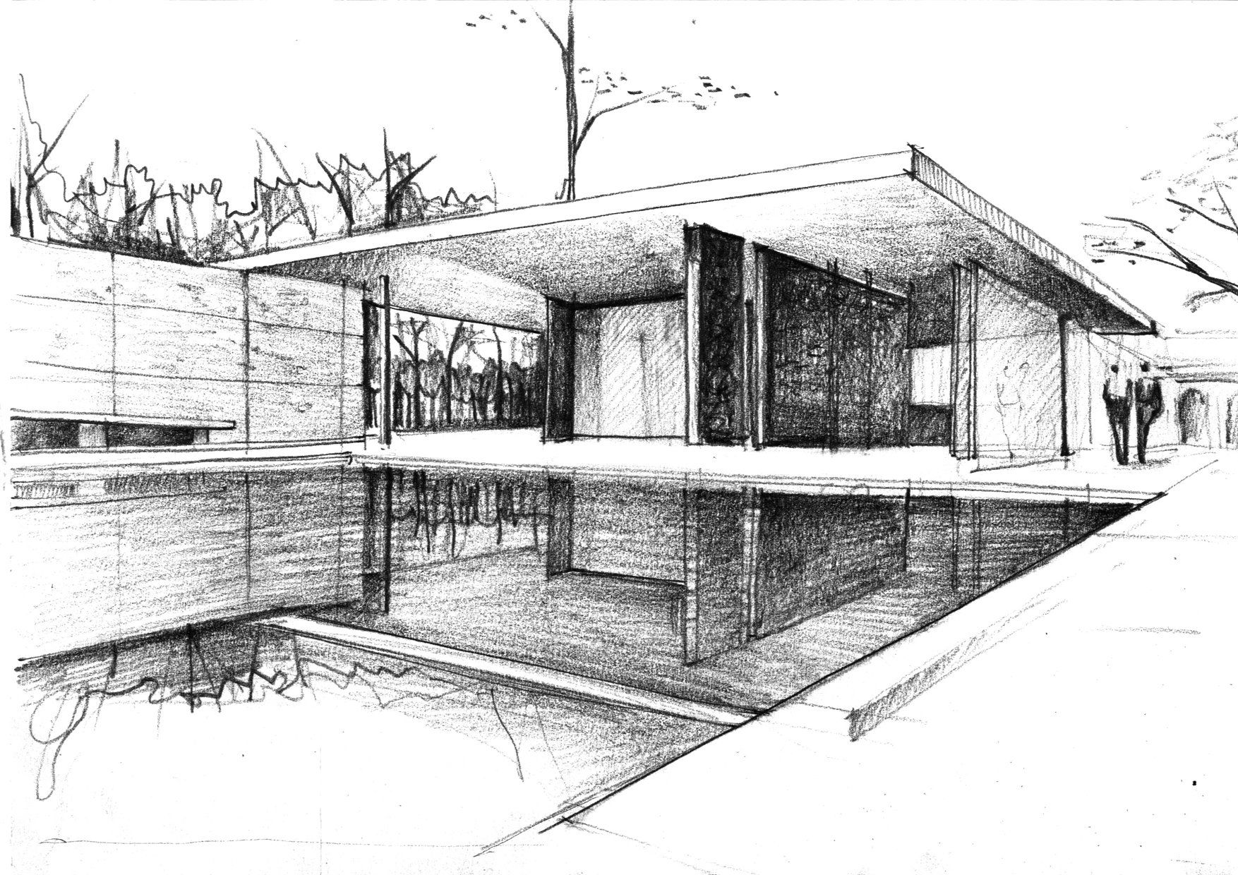 mies van der rohe architecture sketches google search sketches pinterest architektur. Black Bedroom Furniture Sets. Home Design Ideas