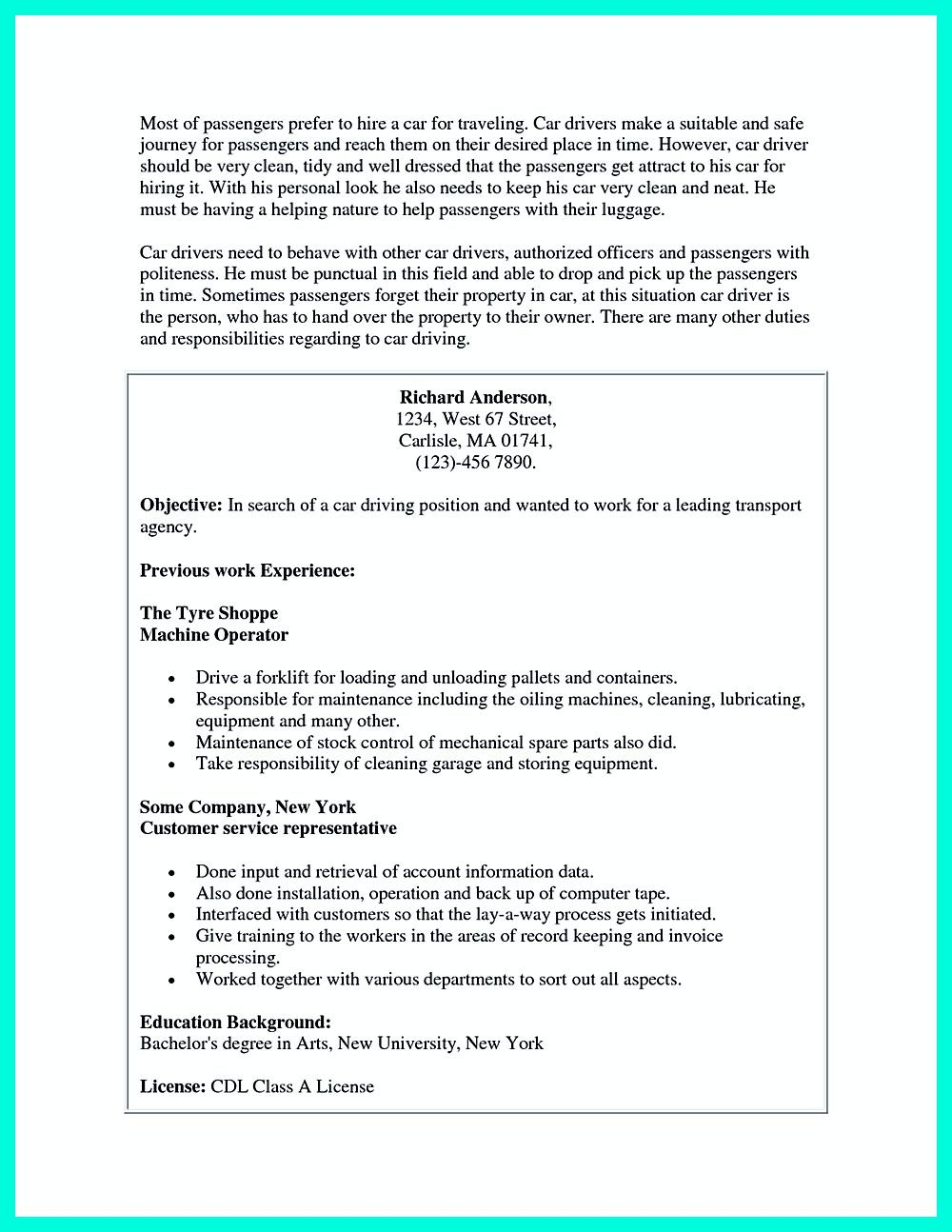 Cdl Driver Resume Objective  Resume Template