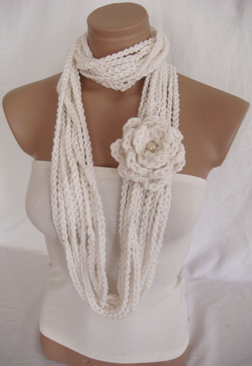 Crochet Infinity Scarf with Flower