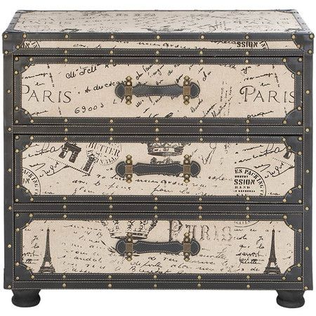 Three-drawer chest with a travel motif.Product: ChestConstruction Material: Wood and leatherColor: