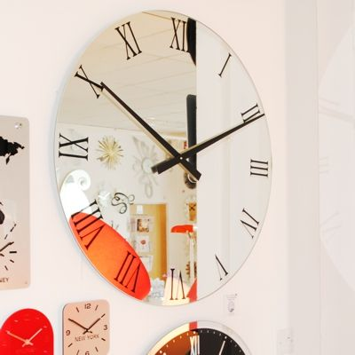 Extra large black roman numerals mirror wall clocks UK Clocks