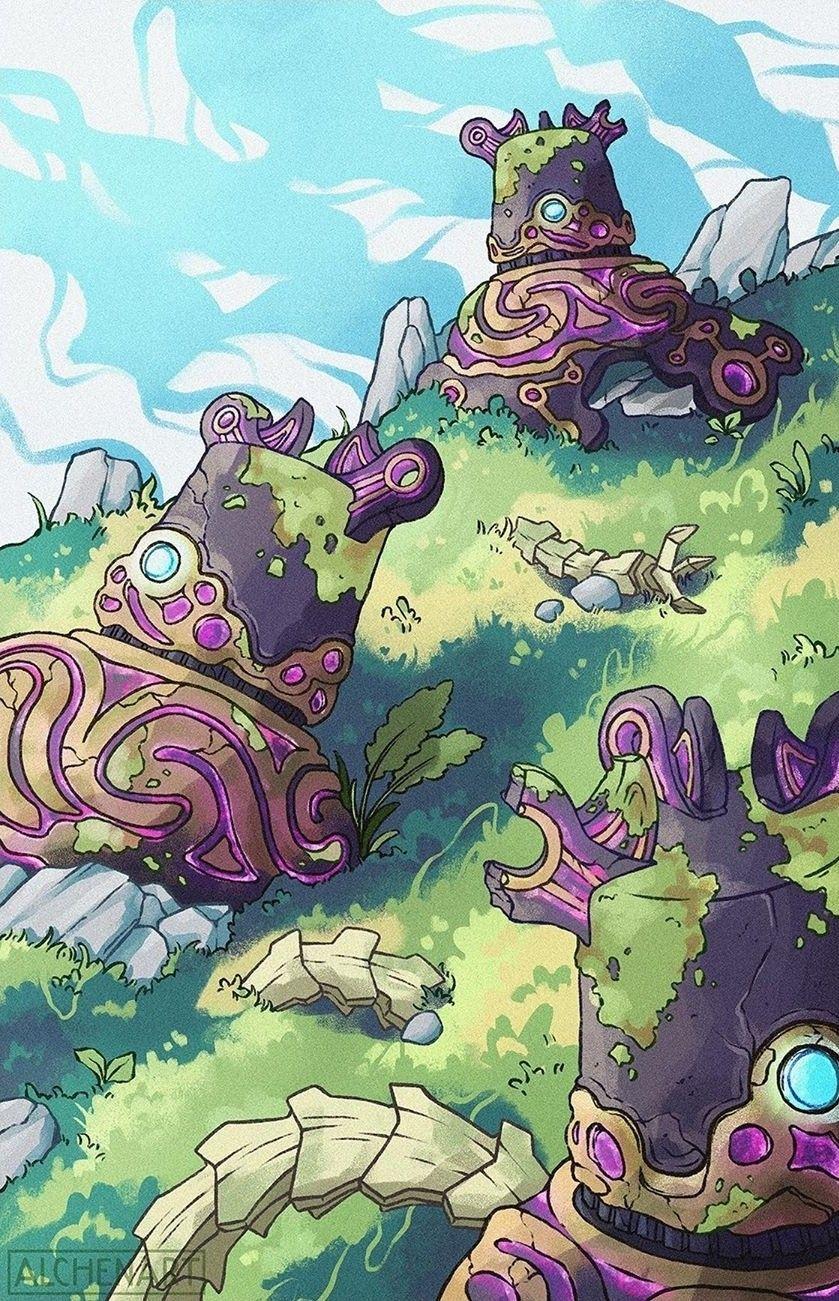Legend Of Zelda Breath Of The Wild Art Guardian Graveyard Botw
