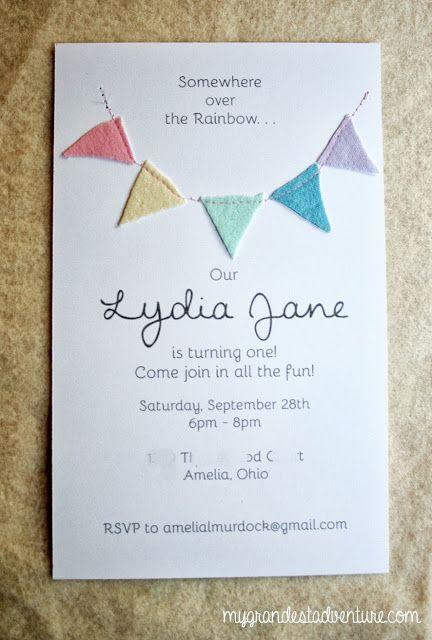 DIY Birthday Bunting Invitations Rainbow Pastel Theme My Grandest Adventure