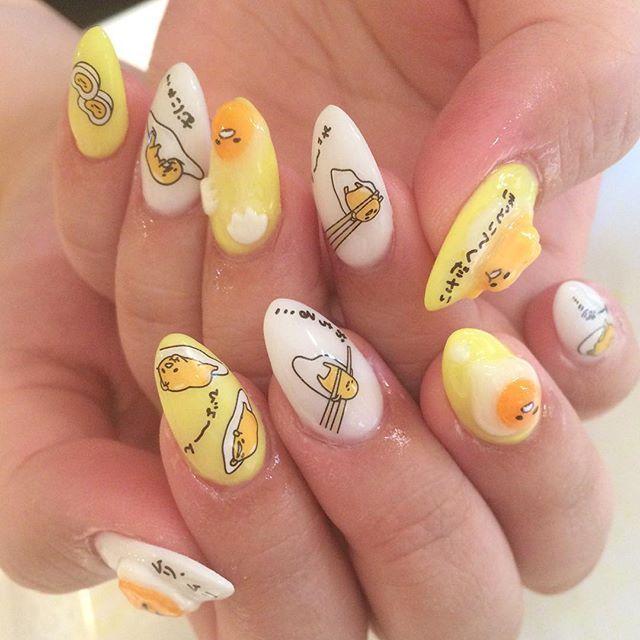 Gudetama Nails Anime Nails Punk Nails Kawaii Nail Art