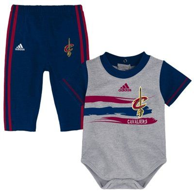 Newborn & Infant Cleveland Cavaliers adidas Wine Little rebounder Creeper  and Pants Set