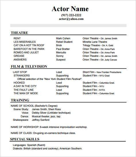 beautiful acting resume template no experience idea di 2020