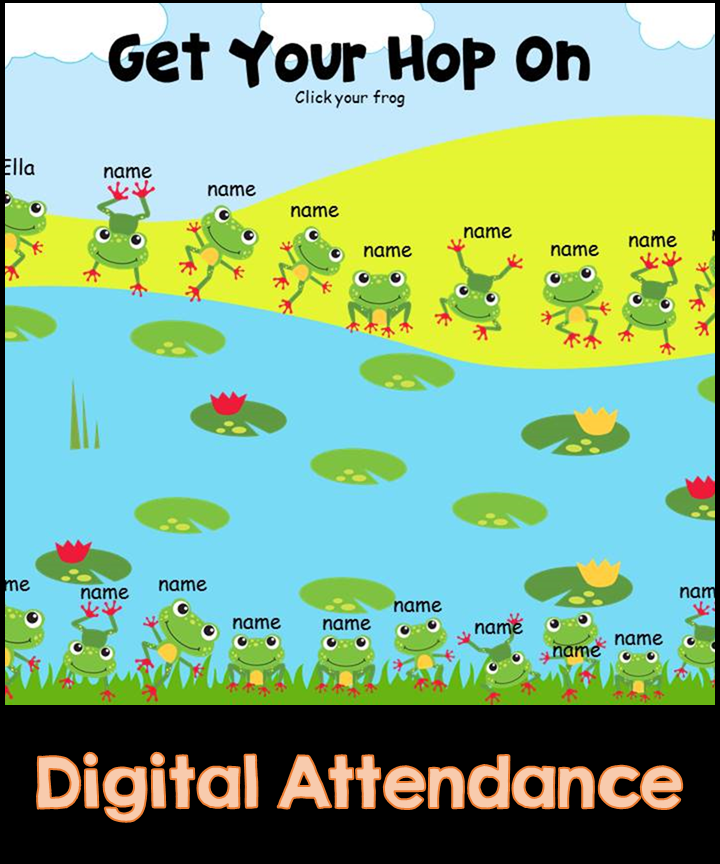 Frog Hop Digital Attendance (Smart Boards and Computers