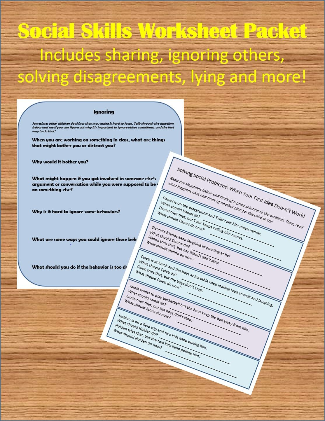 Social Skills Worksheet Packet