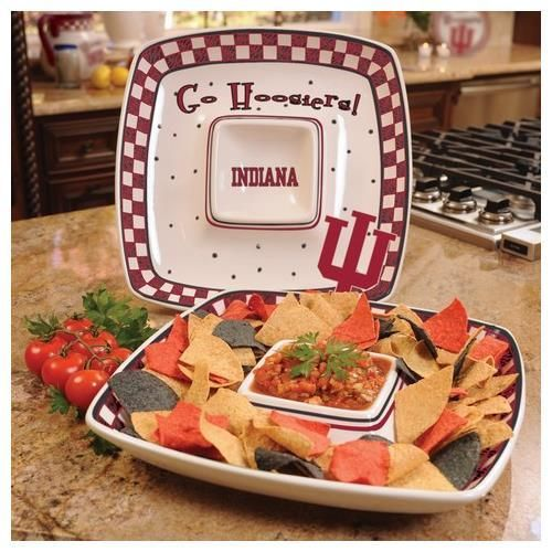 Indiana University Hoosiers Ceramic Chip and Dip Square Tray