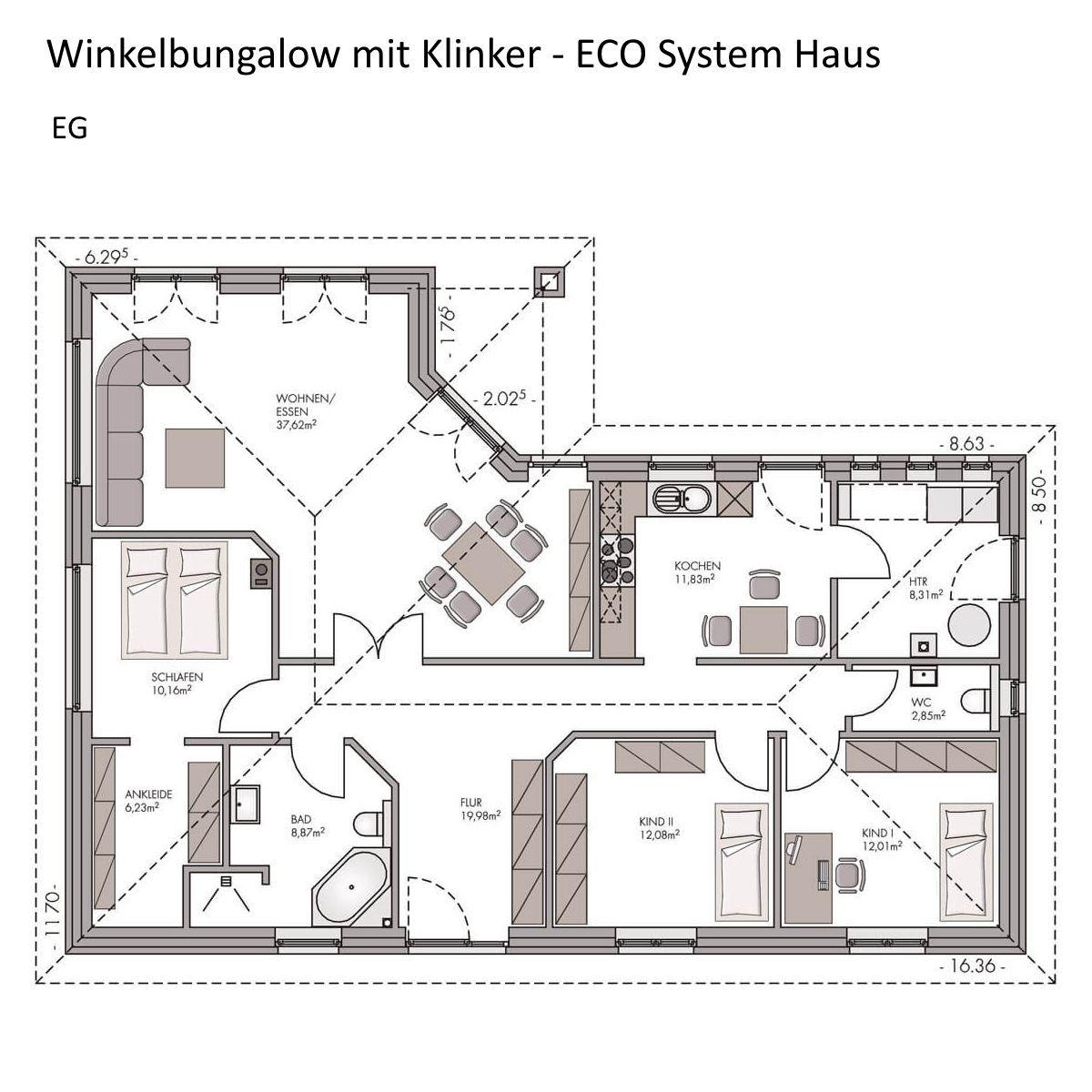 Grundriss Bungalow ebenerdig mit Walmdach Architektur 4