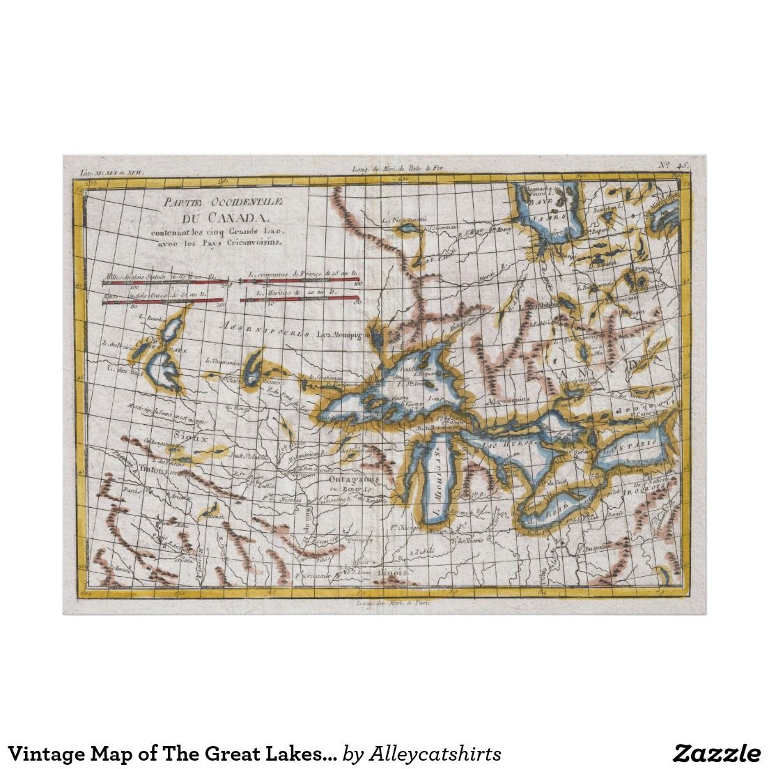 vintage map of the great lakes canada 1780 poster