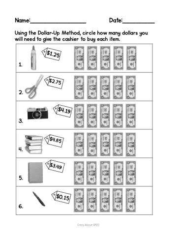 Dollar Up Freebie Life Skills Special Education Life Skills Guided Math