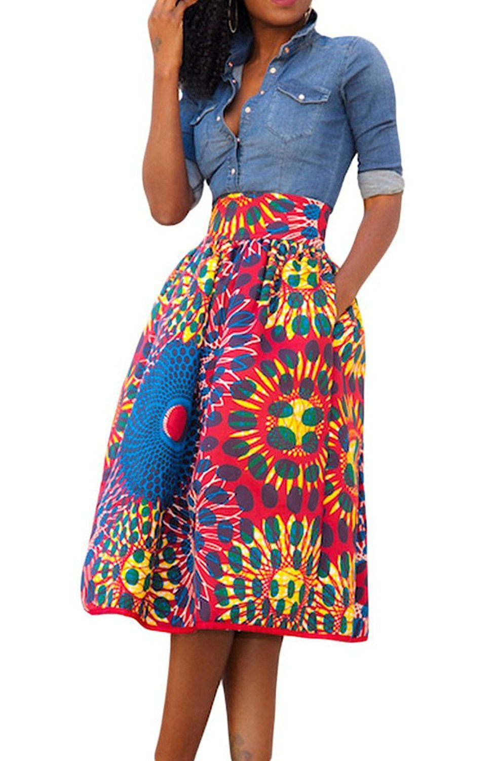 11d34f821c Annflat Women's African Print Knee Length Flare Skirts With Pockets at Amazon  Women's Clothing store:
