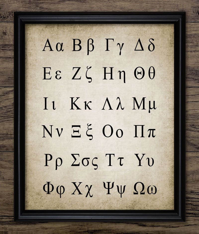 Greek Alphabet Poster Greek Language Science Print