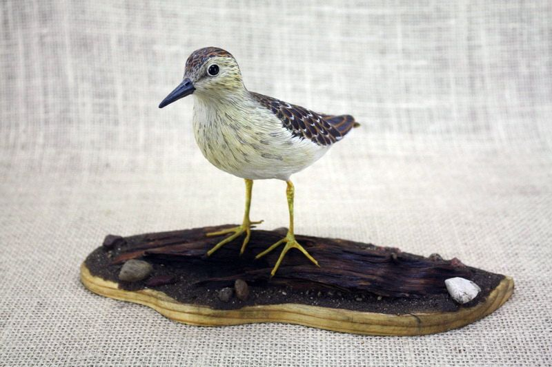 Least Sandpiper Bird Wood Carving Hand Carved Bird Bird Etsy Bird Carving Bird Sculpture Wildlife Art