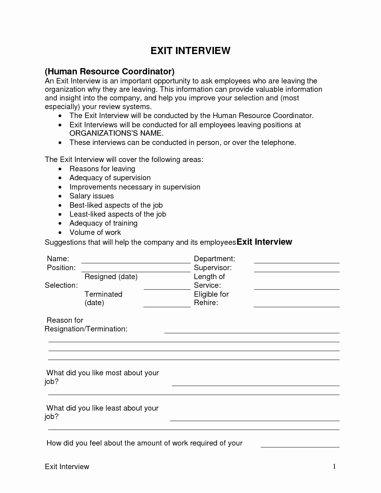 Sample Exit Interview forms Best Of Exit Interview
