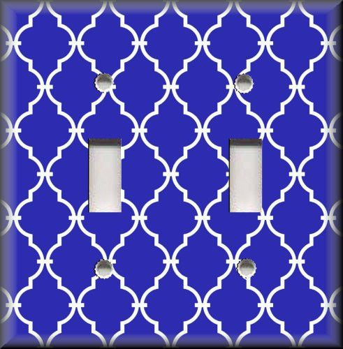Light Switch Plate Cover - Blue White Trellis Moroccan Home Decor