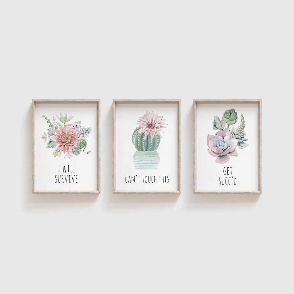 Set Of 3 Watercolour Succulent Prints Plant Puns Print With Funny Quotes Gallery Wall Cactus Plant Pr In 2020 Succulents Prints Watercolor Succulents Plant Print