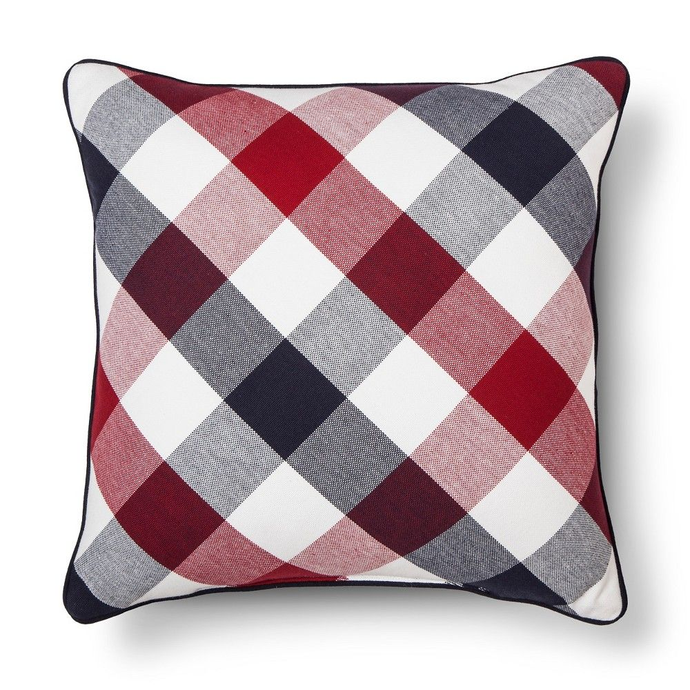Americana Gingham Throw Pillow Blue/Red Threshold Blue