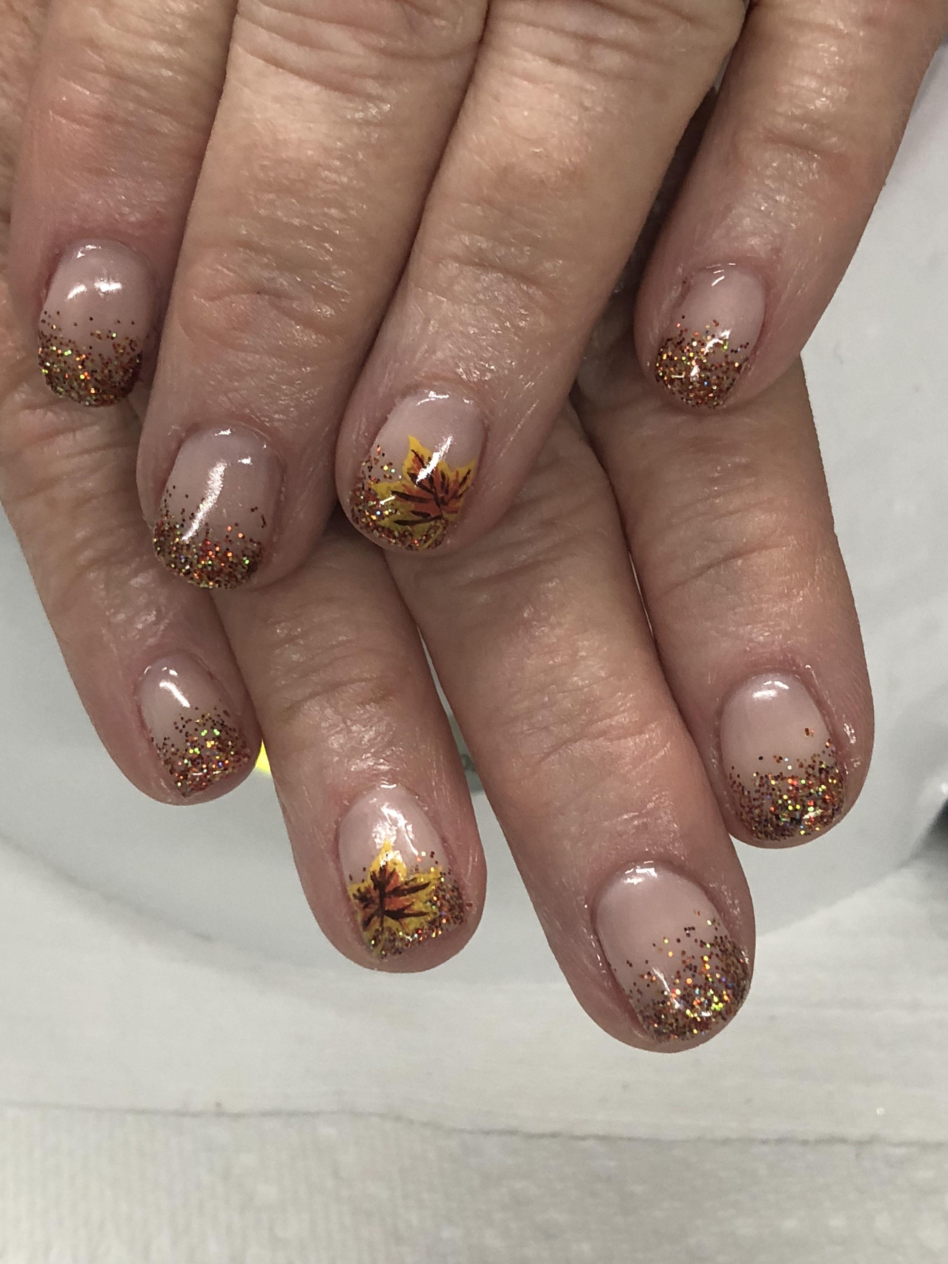 Fall Glitter Ombré Gel Nails Custom made Glitter & hand ...