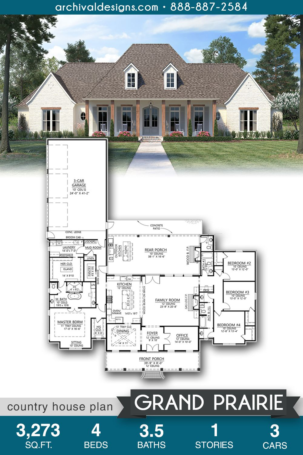 Grand Prairie House Plan House Plans Country House Plan Prairie House