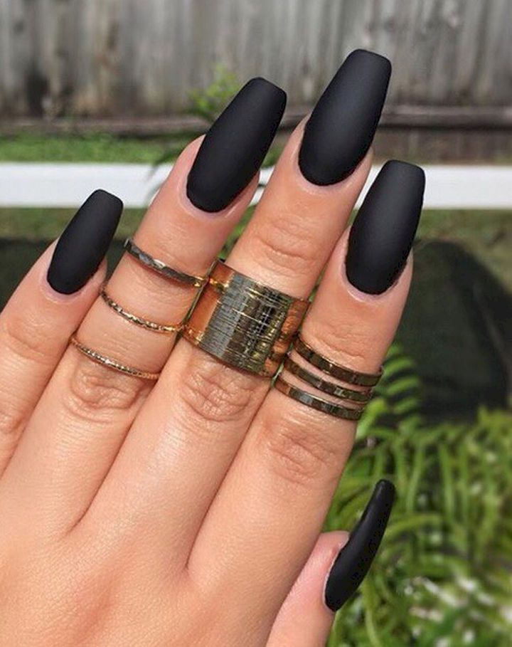 22 Black Nails That Look Edgy and Chic - Simple yet elegant solid black  with a matte finish. - 22 Elegant Black Nail Designs That Look Edgy And Chic. #10 Looks