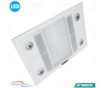 White Martec Linear Bathroom 3 In 1 High Extraction Exhaust Fan With Led Light Bathroom