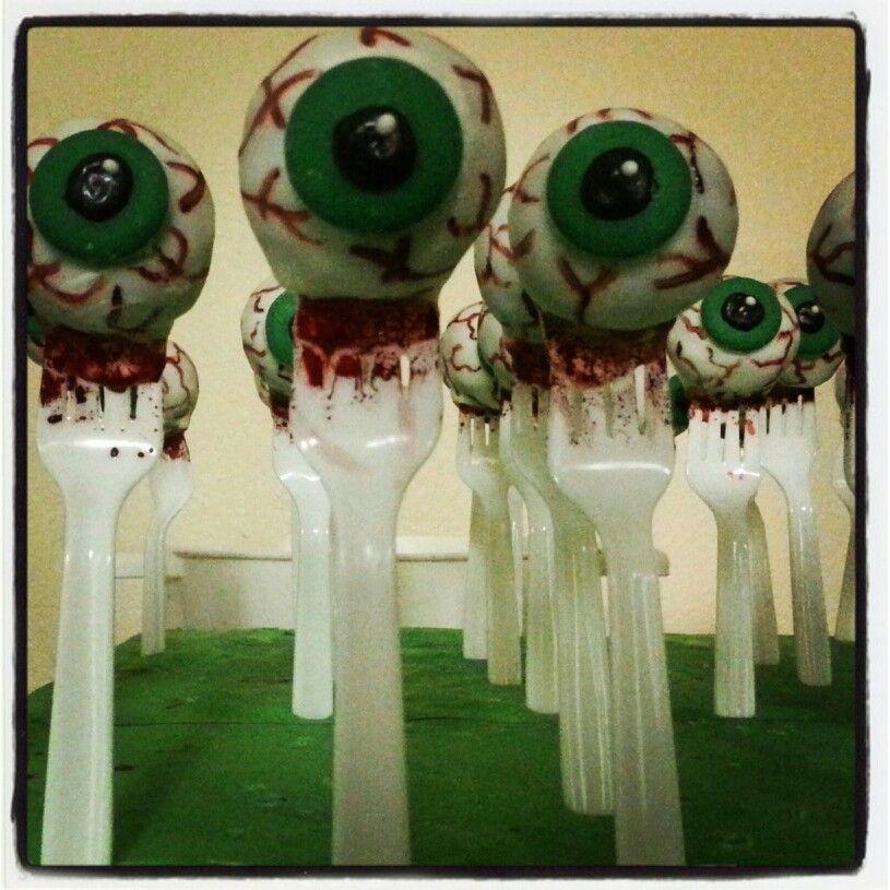 Eyeball cake pops by Taste-E-Bakes. Find us on FB or e-mail at tasteebakes@yahoo.com